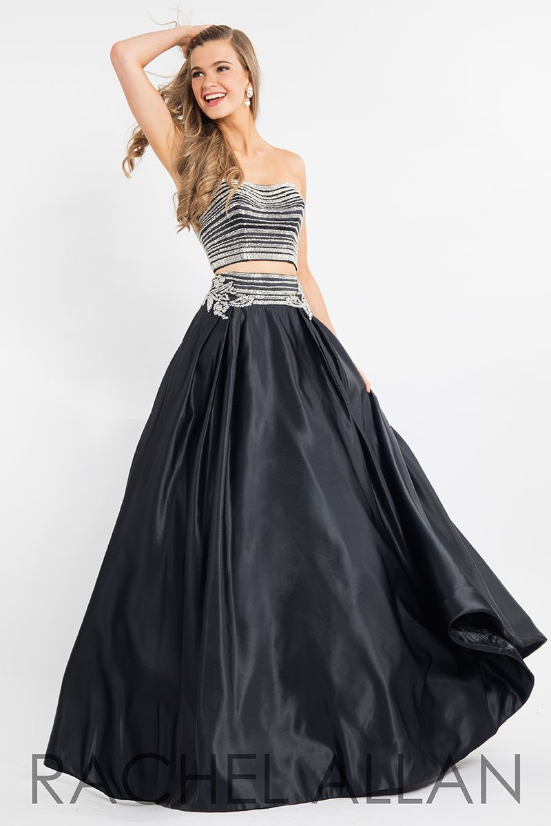 twopiece ball gown with bandeau top and beaded waistline