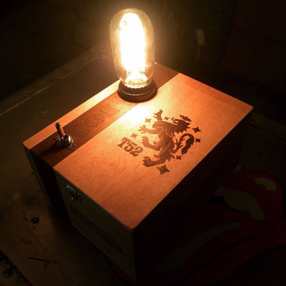 Drew Estate cigar box table top lamp-upcycled reclaimed wood man cave.