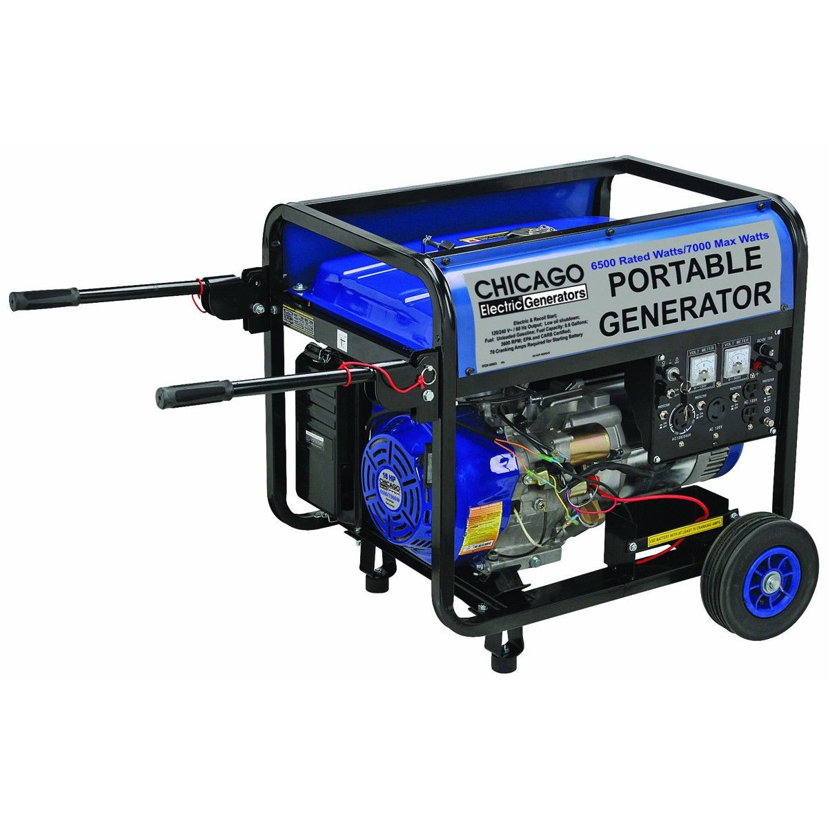 chicago electric generators 66603 16 hp 6500 rated watts 7000 max watts portable generator carb [ 1200 x 1200 Pixel ]