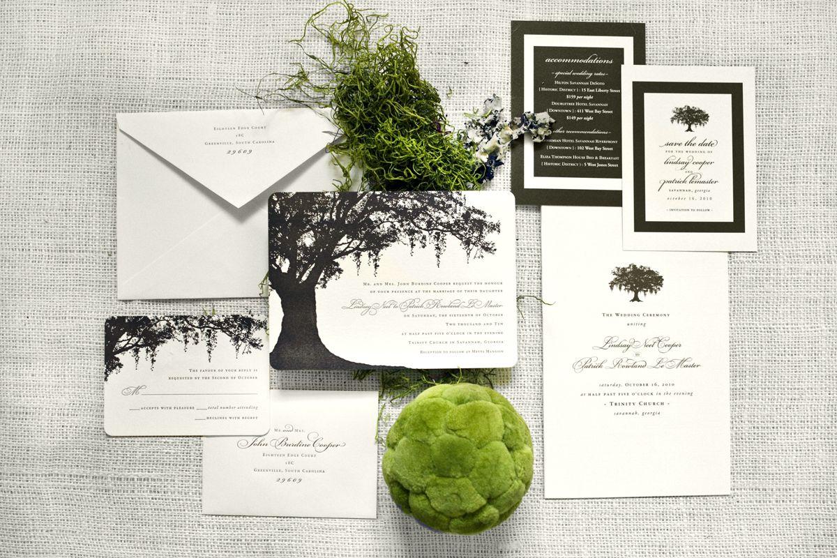 Savannah inspired Spanish Moss Oak Tree Letterpress wedding ...