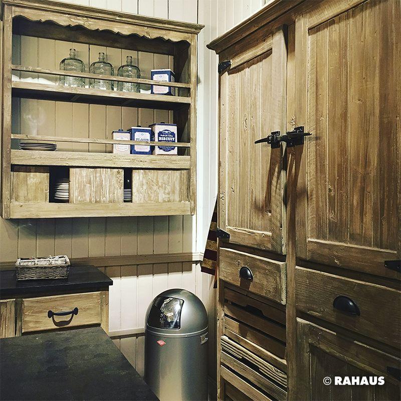 Regal Rustikal champagne küche kitchen regal wandboard holz treteimer