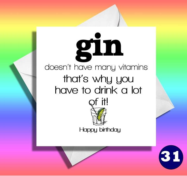 Gin Funny Birthday Cardreally Funny Greeting Cardsfunny Greeting