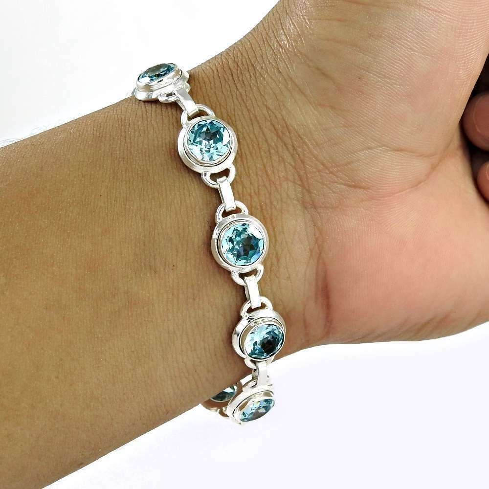 handcrafted silver bracelet with natural pink topazes