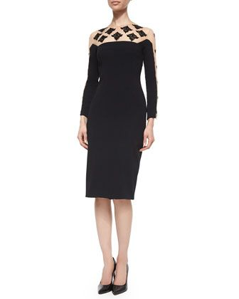 Long-Sleeve Beaded Cocktail Dress, Black by Lela Rose at Neiman Marcus.