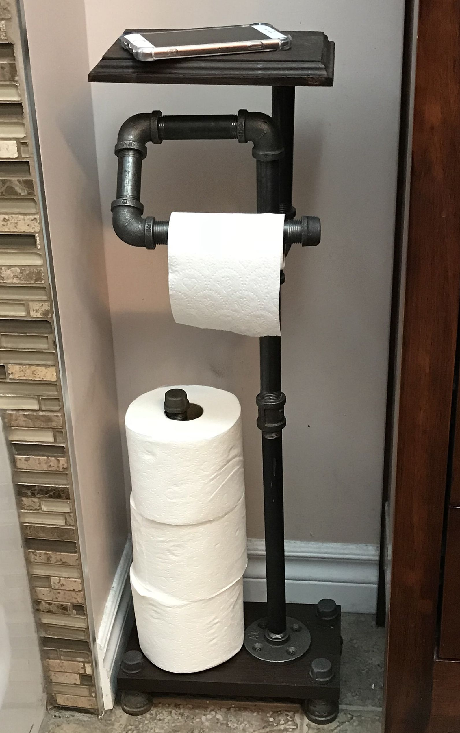 Industrial Style Freestanding Toilet Paper Holder With Dual Etsy Industrial Bathroom Decor Toilet Paper Holder Industrial Diy Toilet Paper Holder