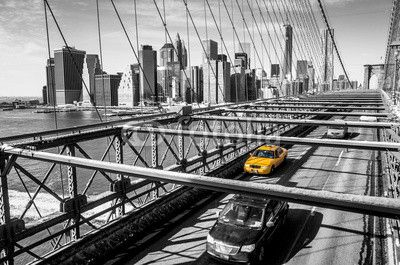 Quadro canvas u003cbru003e taxi cab on brooklin bridge cidades