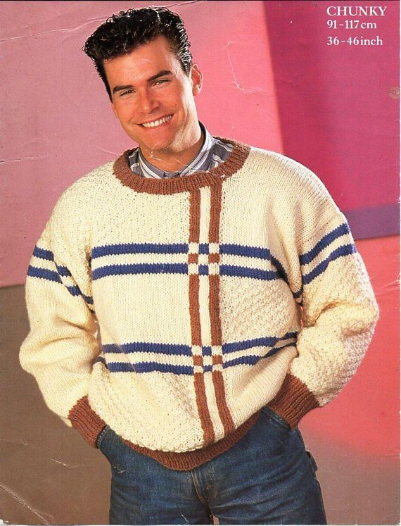 mens chunky sweater knitting pattern pdf mes round neck jumper ...