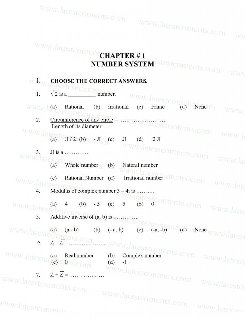 1st Year Mathematics Mcqs Book Free Download | math McQS