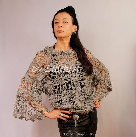 Lace Túnica Top Pure Linen Túnica Crochet Lace Blusa por lilithist
