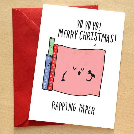 Rapping Paper Christmas Card, Pun Christmas Card, Funny Christmas