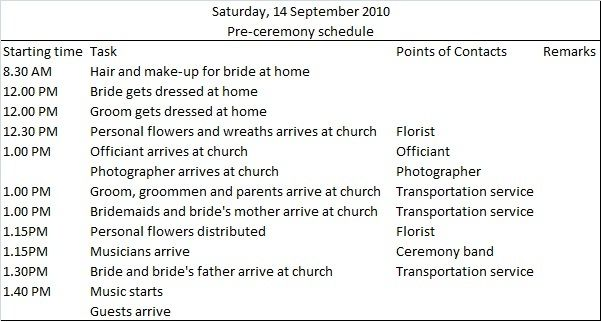 This Site Has Templates For Wedding Day To-do Lists
