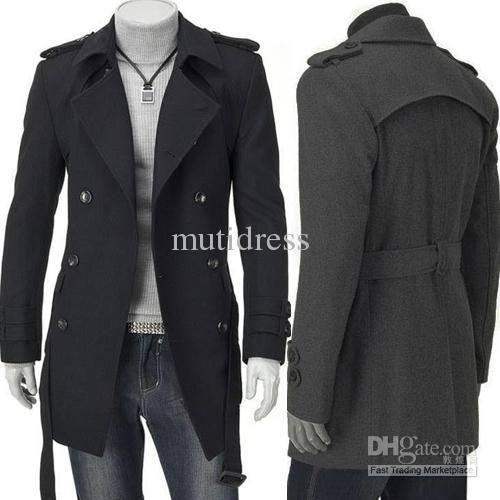 Men Jacket Coat Slim Fit Men Casual Trench Coat Mens Long Winter ...
