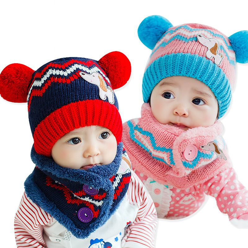 47dd9aa5034 Winter Baby Hat Scarf Set Dog Style Woolen Cap Muffler for Infant Boys  Girls Cute and Warm