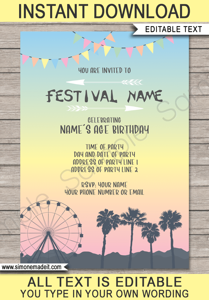 coachella themed party invitations template  u2013 pastel