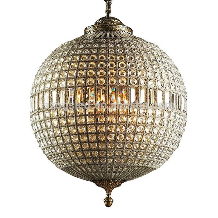 Hot Sale Bronze Round Ball Crystal Chandelier With Bulb For
