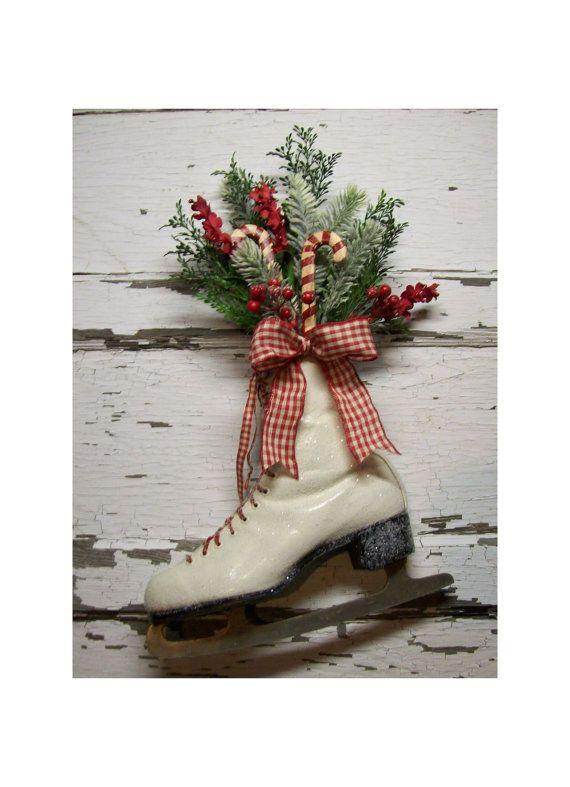 Christmas Ice Skate , Christmas wreath ,Door decor , vintage