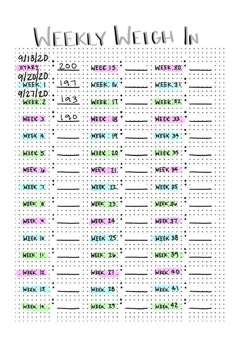 Bullet Journal PDF - Weekly Weigh In