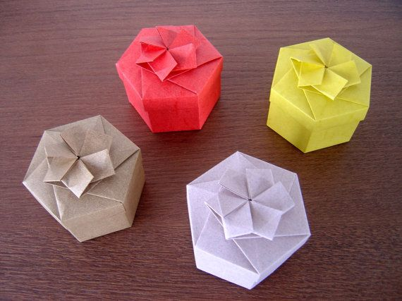 Hexagonal Origami Gift Box With Decorative Lid Wedding Pinterest