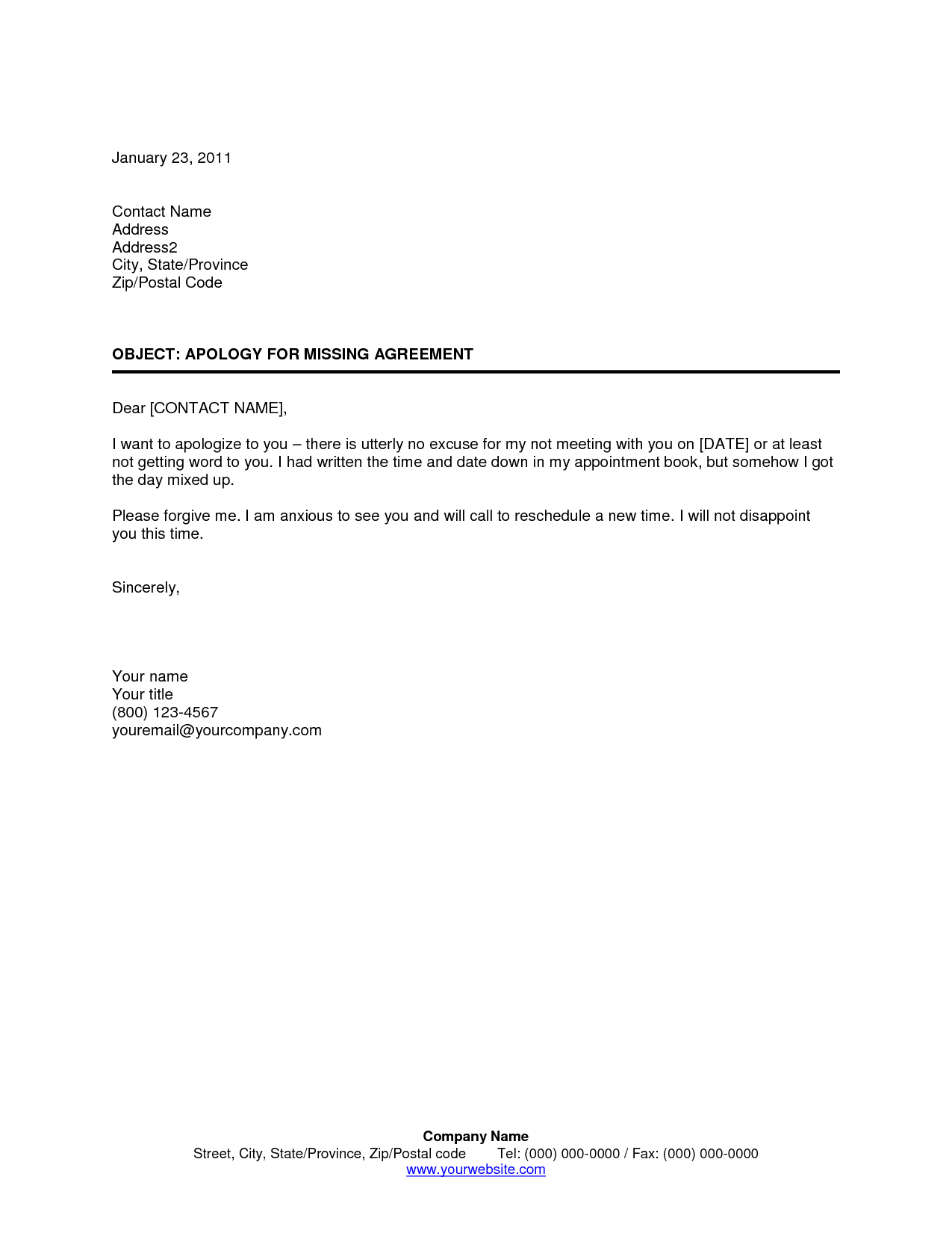Apology Letters Simple Missed Appointment Letter Template Sample