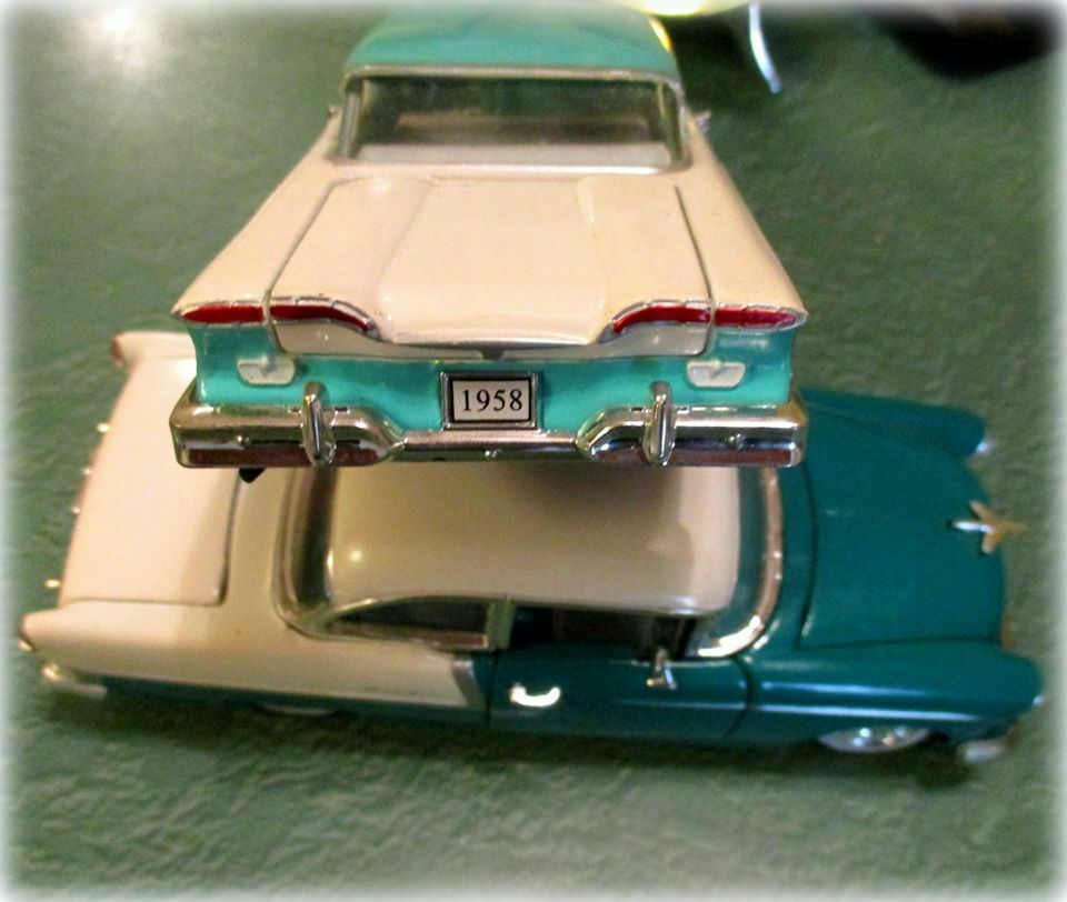 Die Cast Model Cars 2 1958 Ford Edsel Citation Teal and White Chevy Belair