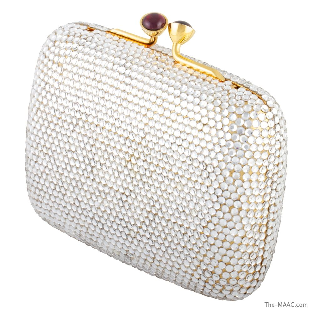 "Judith Leiber 1990s full bead minaudiere with garnet clasp, rhinestones, USA, 1990s, Length: 4"" Height: 3-1/2""  The MAAC Holiday Collection  http://the-maac.com/treasures-pleasures?id=67&tid=3266"