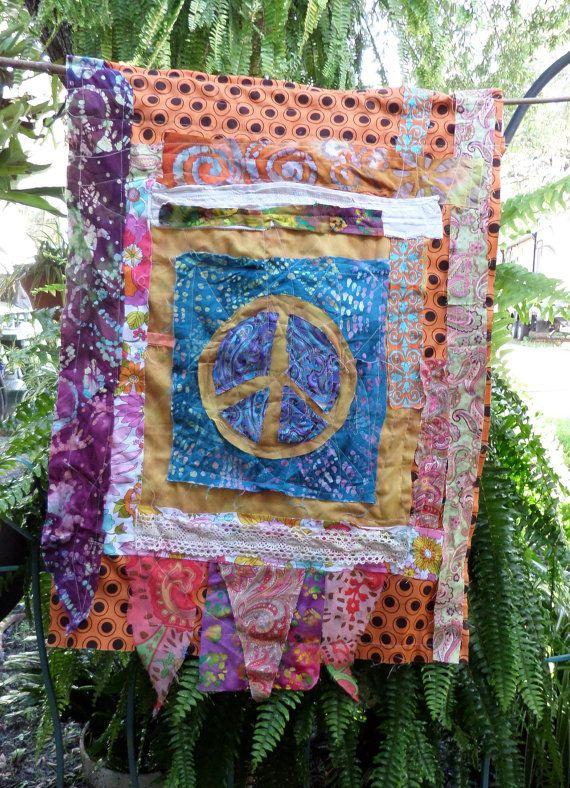 Large Peace Sign Hippie Prayer Flag Hippie Garden