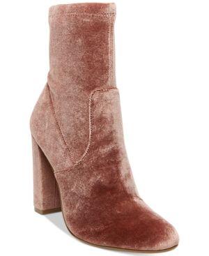 3447f3eae0a Steve Madden Women s Brisk Velvet Block-Heel Sock Booties - Red 6.5M ...
