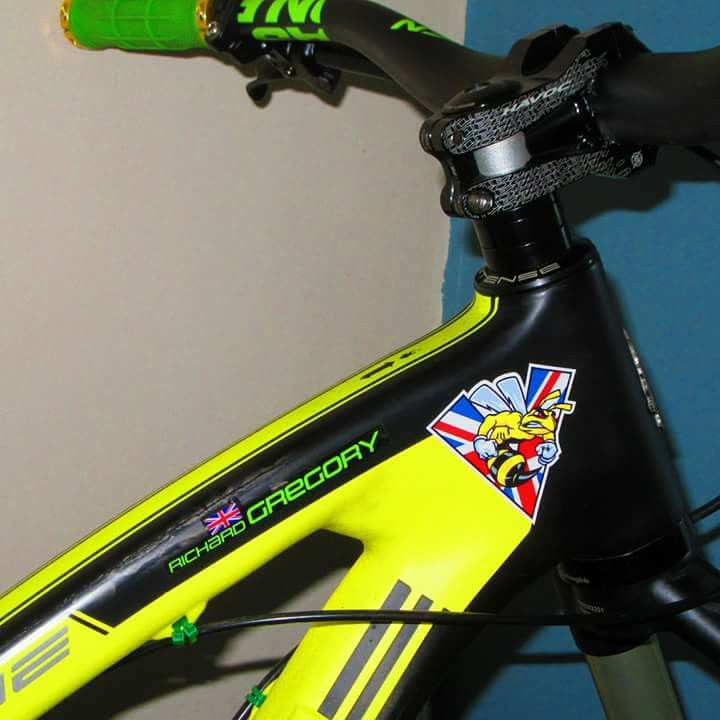 Mountain bike with custom made sticker with flag