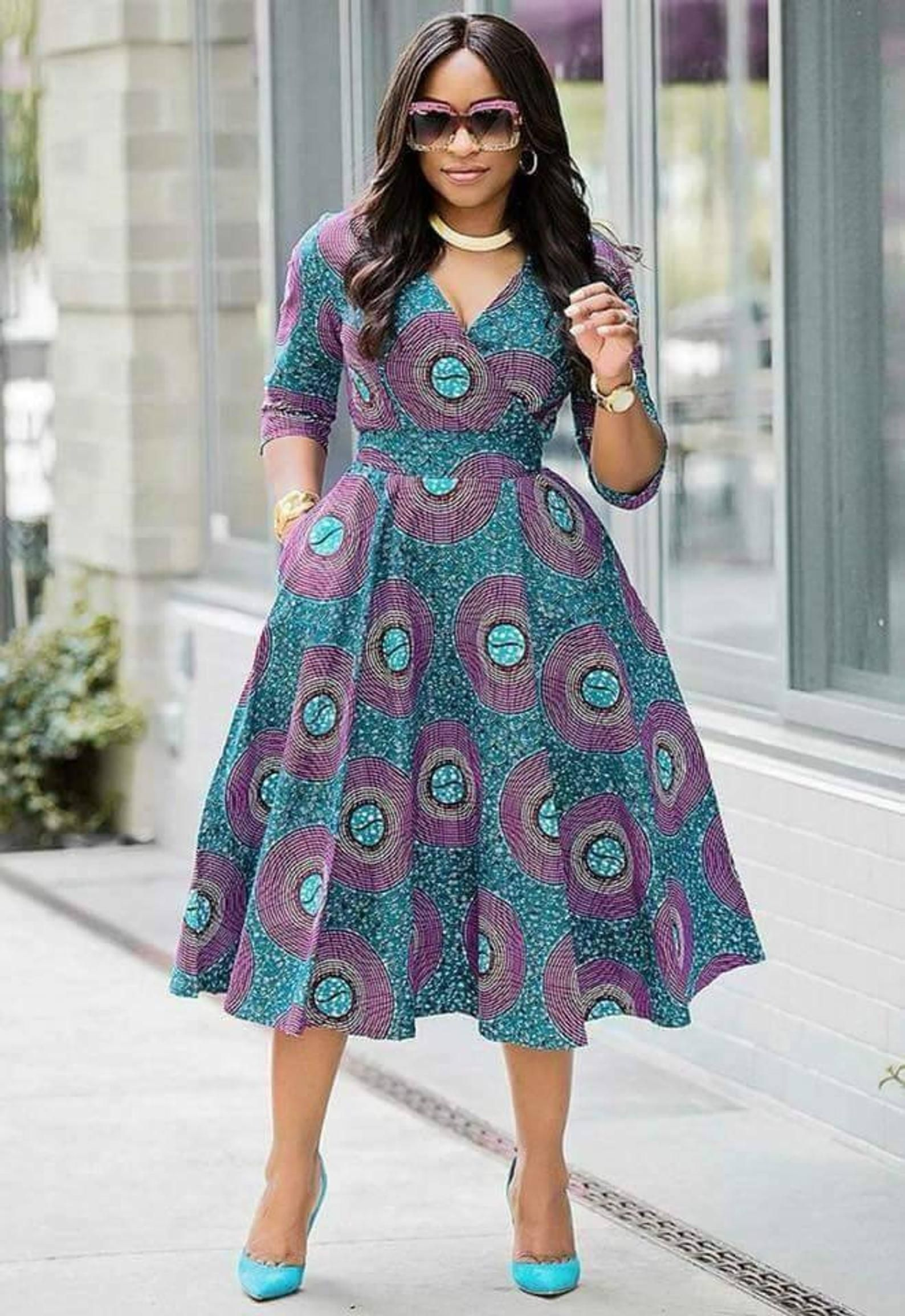 African Ankara dress, African Clothing for Woman, Midi Dress, Dress With Pockets, African Print Dress,dashiki print, vintage clothing,sexy