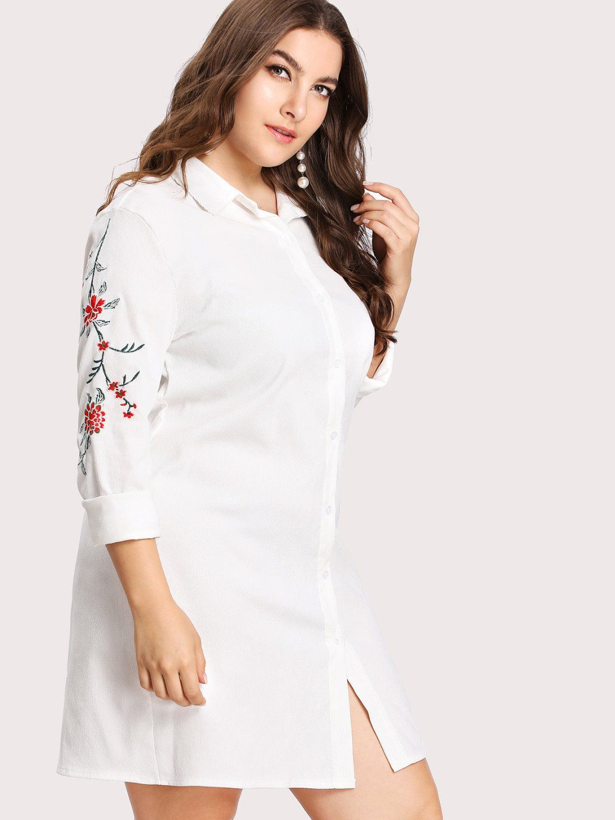 Embroidery detail shirt dress embroidery floral and stretches