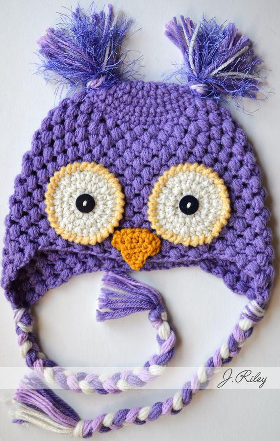 Crochet Granny Stitch Owl Beanie Hat - Photo Idea   Рукоделие ...