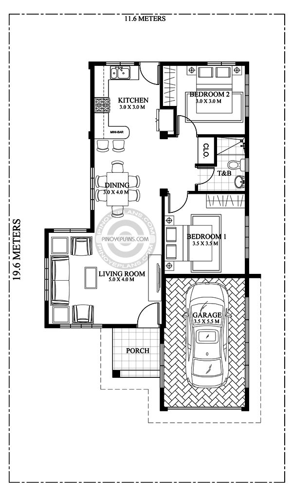 2 Bedroom House Floor Plan One Storey House Three Bedroom House Plan Bedroom House Plans
