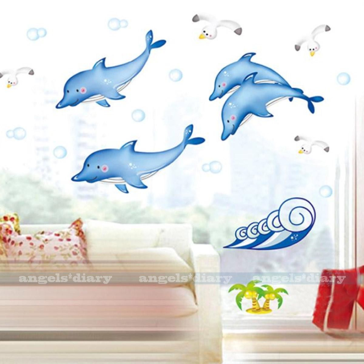 Details about dolphins seagulls wall sticker decal home kids room details about dolphins seagulls wall sticker decal home kids room decor removable wallpaper amipublicfo Image collections