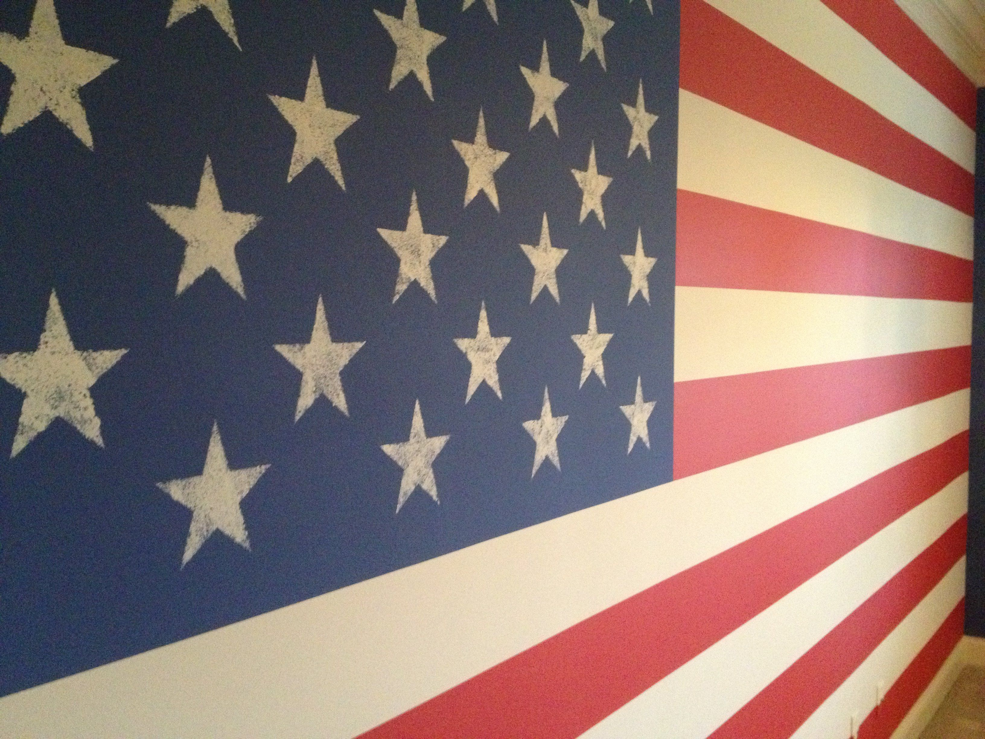 Wall Painted With American Flag Bing Images American Flag Bedroom Wall Painting American Flag