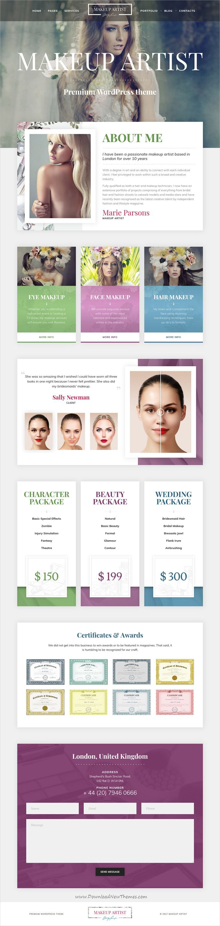MakeUp Artist Pro Is Clean And Modern Design Responsive WordPress Template For Hair Stylist Beautician Makeup Website Download Now