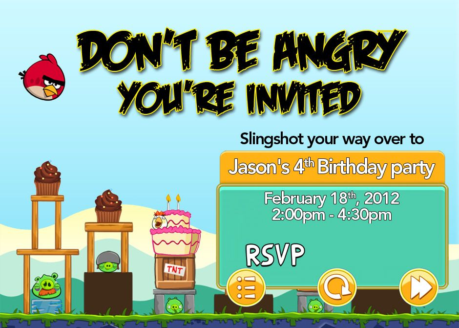 Angry Birds invitation for my son\'s 4th Birthday. He wanted an Angry ...