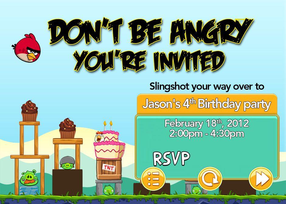 Angry Birds Invitation For Jason S 4th Birthday Jonathan Fricke Angry Birds Party Bird Party Bird Invitation
