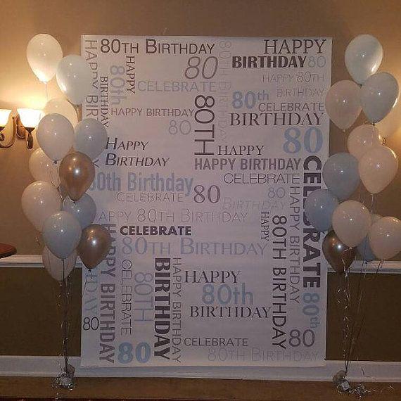 Custom 80th Birthday Party Backdrop Personalized Vinyl Background