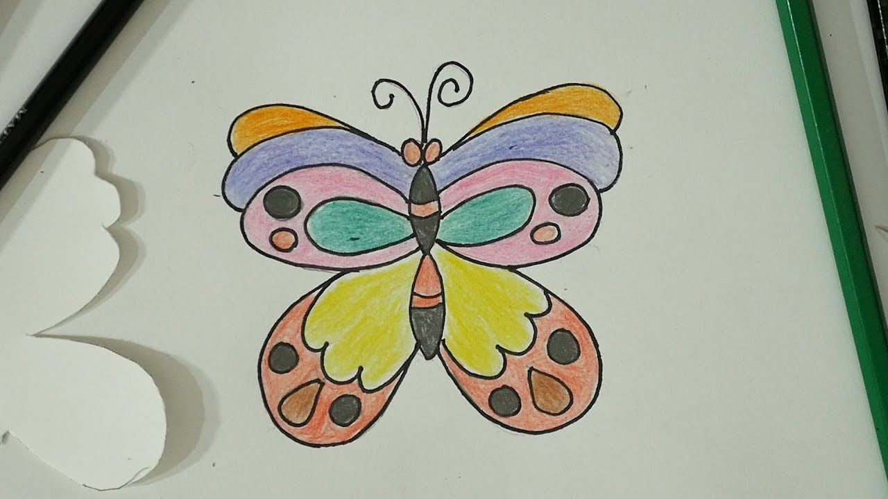 Diy Butterfly Colourful Art Colour Pencils Easy For Beginners S Nagender Colorful Art Drawing Tutorials For Kids Diy Butterfly
