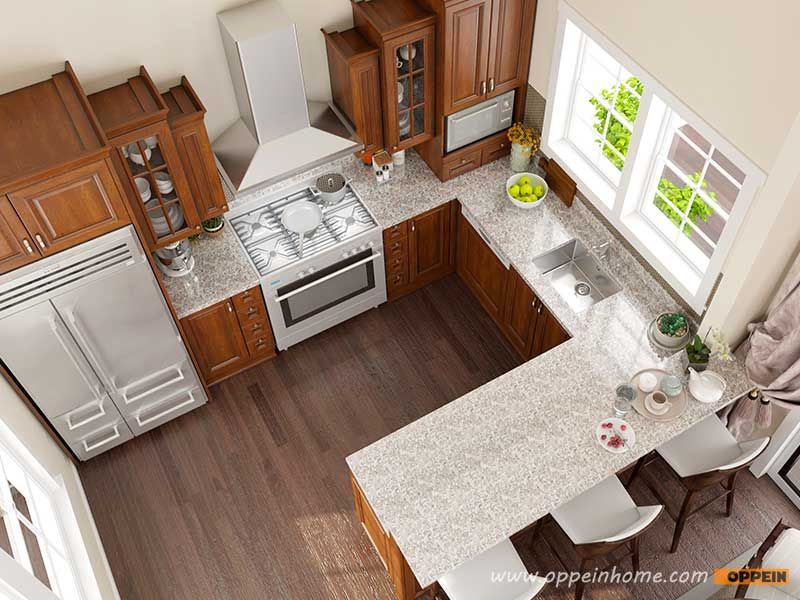 OP16 PP03: 12 Square Meters U Shaped American Style Kitchen Design