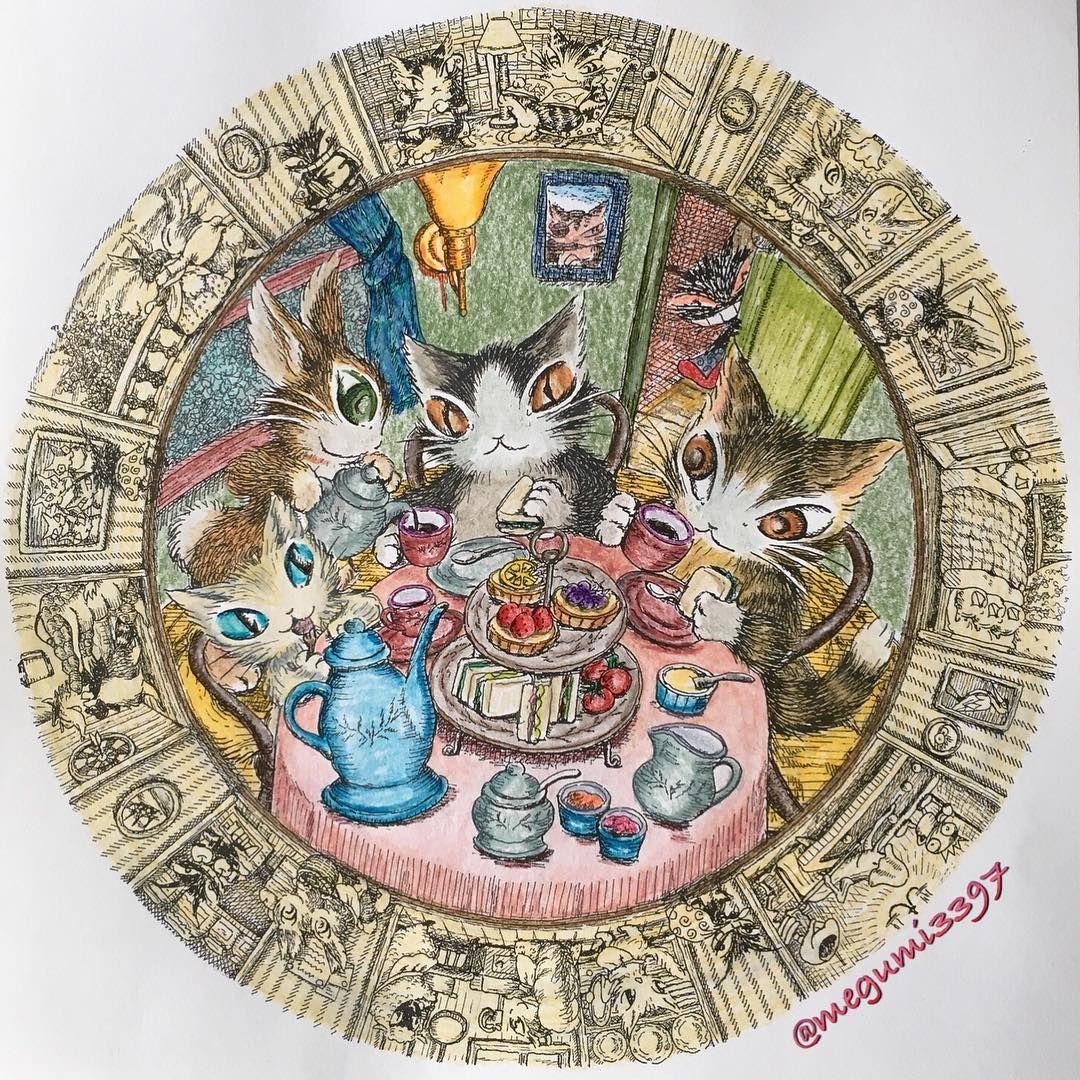 猫のダヤン ダヤンと仲間たちの大人のぬりえbook 塗ってみました