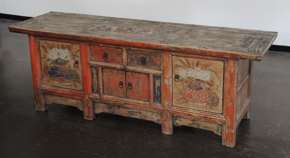 Antique low sideboard cabinet with original paint NA008 - Antique Low Sideboard Cabinet With Original Paint NA008 All About