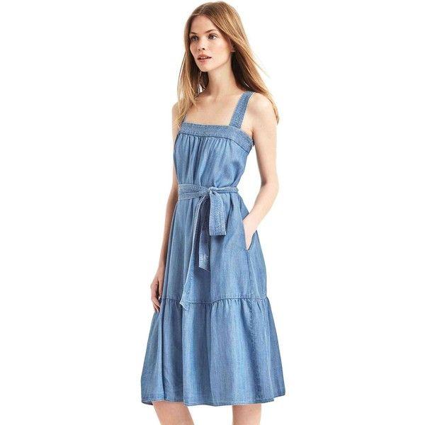ddb2476ed21 Gap Women TENCEL™ Tier Midi Dress ( 65) ❤ liked on Polyvore featuring  dresses