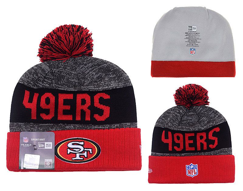 outlet store sale watch super cheap San Francisco 49ers New Era Heather Gray 2016 Sideline Knit | Pom ...