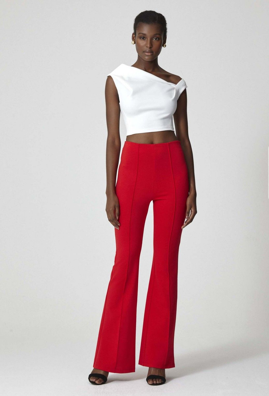 6e59a881aab8 Image 3 of AQ AQ Carter High Waist Trousers · Bright Red