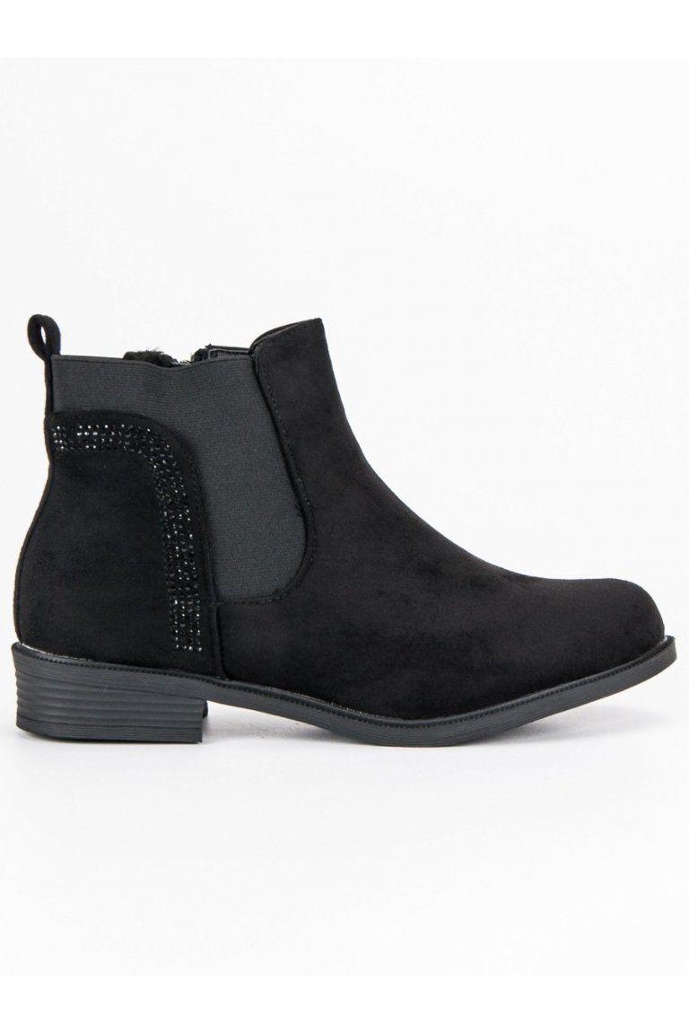e2a89bd223cf6 Čierne topánky pre ženy semišové pérka CnB | Členkové topánky - NAJ ...
