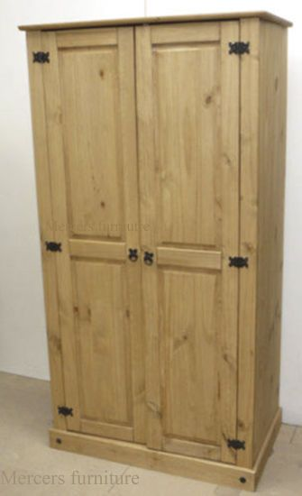 Corona 2 Door Wardrobe Solid Pine Mexican Style 2 Door Wardrobe Pine Bedroom Furniture Pine Wardrobe