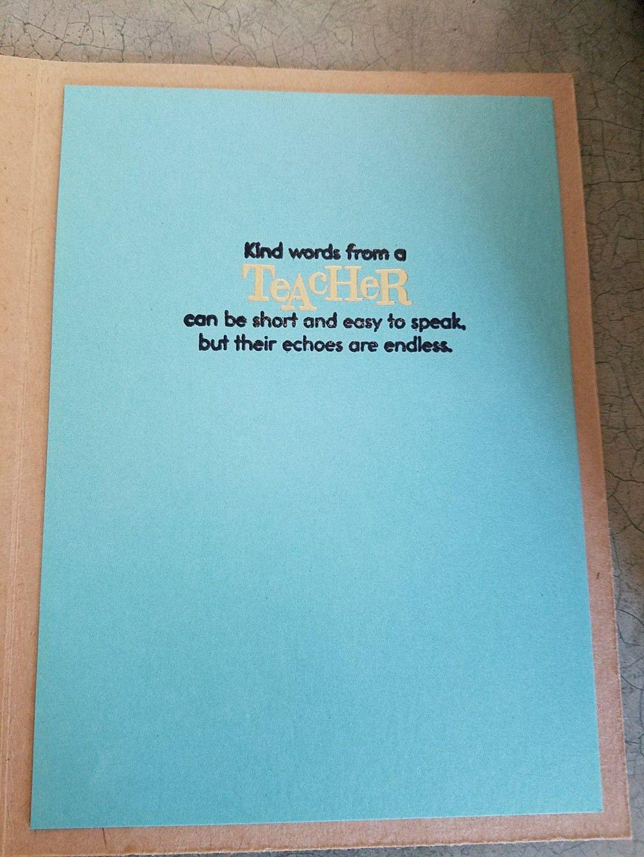 Thank You Card For Teacher Inside Card Teacher Cards Pinterest