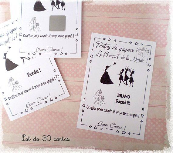 Lot 30 Cartes Jeu Tombola à Gratter Mariage Bouquet Mariée