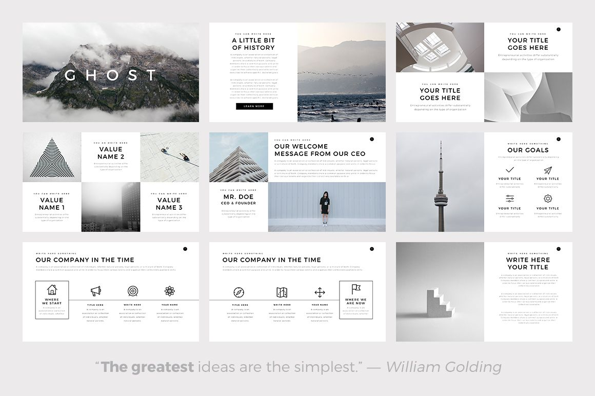 ghost minimal powerpoint template by slidepro on creativemarket inspire pinterest. Black Bedroom Furniture Sets. Home Design Ideas